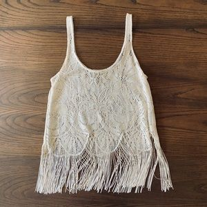 Show Me Your Mumu   Crocheted Metallic Fringe Tank